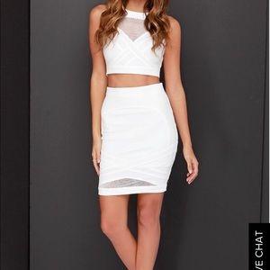 Lulu's white skirt and top Mesh set